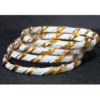 White and Golden Bangles set of 4