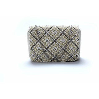 Diwaah!! Hand crafted white embellished clutch