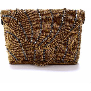 Diwaah!! Hand crafted golden embroidered clutch