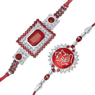 Sukkhi Rhodium Plated Set of 2 Designer Rakhi Combo
