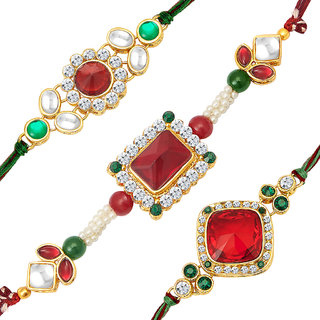Sukkhi Gold Plated Set of 3 Designer Rakhi Combo