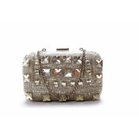 Diwaah!! Hand Crafted White Embellished Box Clutch