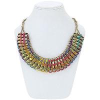 Adbeni Metal And Multicoloured Satin Threads Choker Handcraft Necklace-ADB-015