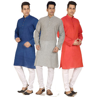 TrustedSnap Pack of 3 Mens Multicolor Comfort Fit Kurta