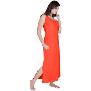Gargi Ladies Off Sleeves Knitted Jersey Long Nighty With Bottom Side Slit For Ease Movement.
