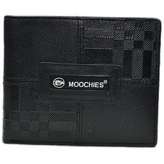 Moochies Black Mens pure leather wallet emzmocgw329black