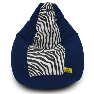 DOLPHIN XXXL N.Blue/Zebra(Blk-White)-FABRIC-FILLED(with Beans)