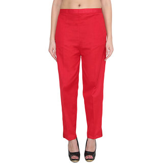 NumBrave Red Cotton Comfort Fit Mid Rise Solid Womens Formal Trouser