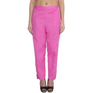 NumBrave Pink Cotton Comfort Fit Mid Rise Solid Womens Formal Trouser