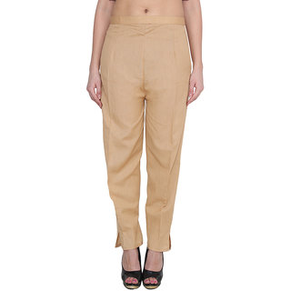 NumBrave Gold Cotton Comfort Fit Mid Rise Solid Womens Formal Trouser