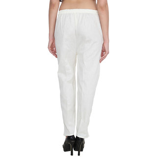 NumBrave White Cotton Comfort Fit Mid Rise Solid Womens Formal Trouser