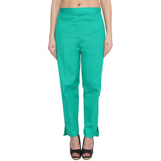 NumBrave Green Cotton Comfort Fit Mid Rise Solid Womens Formal Trouser