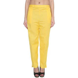 NumBrave Yellow Cotton Comfort Fit Mid Rise Solid Womens Formal Trouser