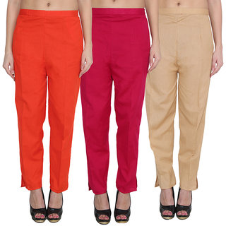 NumBrave Multicolor Cotton Comfort Fit Mid Rise Solid Womens Formal Trousers (Pack of 2)