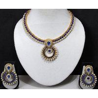 Blue Stone Pearl Polki Pendant Necklace Set