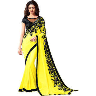 Krinal Enterprise Light Yellow Colour Georgette Embroidered Saree