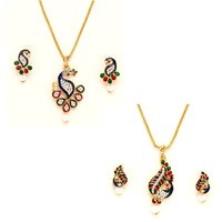 Pretty Traditional 2 sets of  peacock pendant and sets by GoldNera