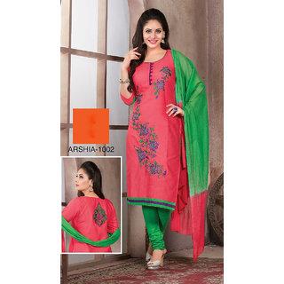 Trendz Apparels Peach Cotton Straight Fit Salwar Suit