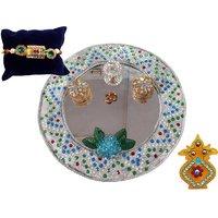 Unique Arts Silver Glass Pooja Thali With Rakhi And Kalash Roli Box