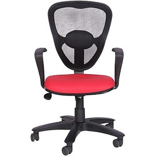 EARTHWOOD Fabric Office Chair     ( Color - Black Red)