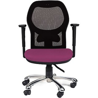 EARTHWOOD Fabric Office Chair     ( Color - Black Purple)