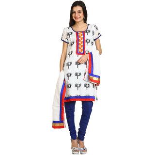 Satrang White Art Silk Printed Dress Material