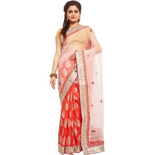 Avinandan Orange Embroidered Georgette Party Wear Saree