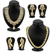 Sukkhi Ethnic Gold Plated Set Of 2 AD Necklace Set Combo For Women