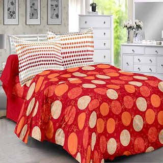 Valtellina Cotton Polka Red Double Bedsheet with 2 Contrast Pillow Covers(TC-129)