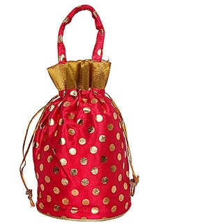Indian Fashion Handmade Women Drawstring Potli Bags Gift Pouch - Red