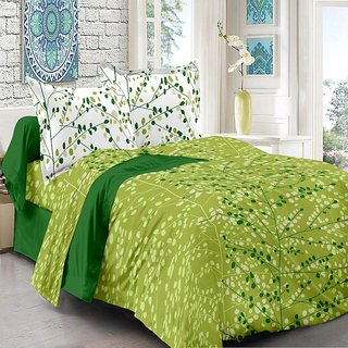 Valtellina Cotton Floral Green Double Bedsheet with 2 Contrast Pillow Covers(TC-129)