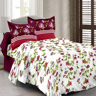Valtellina Cotton Floral White Double Bedsheet with 2 Contrast Pillow Covers(TC-129)