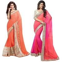 stylzone Fashion Designer Faux Chiffon Combo Of 2 Saree With Blouse Pcs-Combo30
