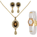 Oleva Gemstone Pendent Set + Free Triple String Pearl Watch- OVD 51