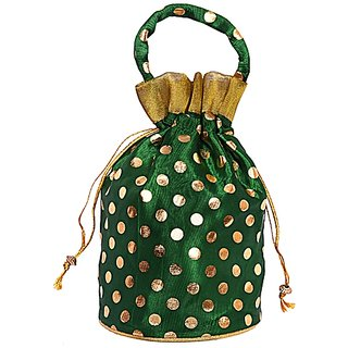 Indian Fashion Handmade Women Drawstring Potli Bags Gift Pouch - Green