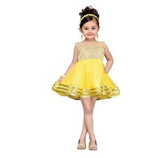 Aarika Yellow Net Empire Waist Dress For Girls