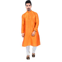Sanwara Orange Long Kurta  Pyjama Sets For Men