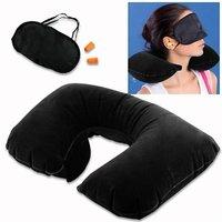 3 in 1 Tourist Treasure Air Travel Neck Pillow Cushion Car-Eye Maks Sleep Rest Shade-Ear Plug
