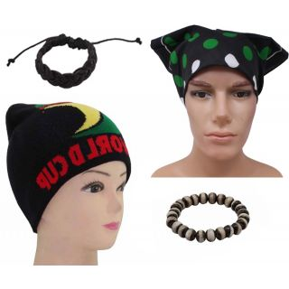 Sushito World Cup Woolen Cap Combo Wrist Band  With Stylish Headwrap  JSMFHCP0663-JSMFHWB0988-JSMFHHR0224