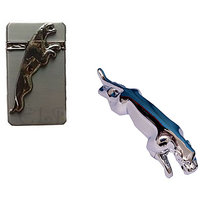 Silver Jaguar Refilling Cigarette Lighter With Jaguar Shape Steel Gas Lighter