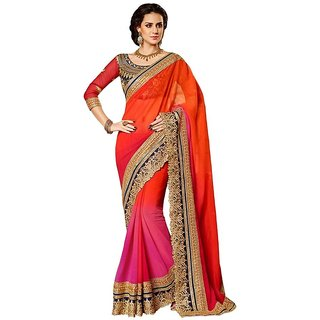 stylzone Orange Saree With Unstitched Blouse-108