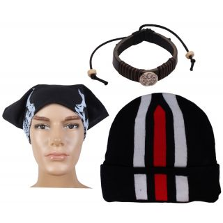 Sushito Fashion Fresh Black Wollen Cap With With Fancy Headwrap  Wrist Band JSMFHCP1389-JSMFHWB1004-JSMFHHR0201