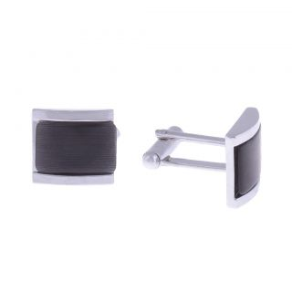The Jewelbox Black Crystal In Silver Finish Cufflink
