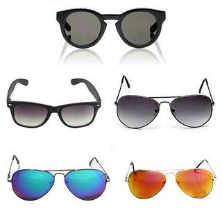 Bm Fashion Sunglases Combo Blue,yellow Murcury Purple Aviatorr Black Square And Round Shape Wayfarers