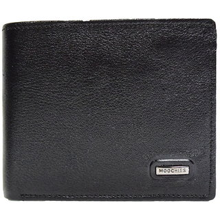 Moochies Black Mens pure leather wallet emzmocgw12black