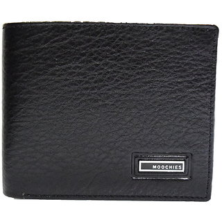 Moochies Black Mens pure leather wallet emzmocgwN11black