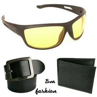 Bm fashion night drive mens combo with belt and wallet