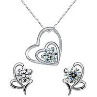 ENZY Silver Solitare Heart  Earrings Set