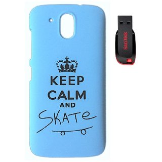 YGS Printed Matte Back Cover Case For HTC Desire 526 -Blue With Sandisk Pen Drive 4GB