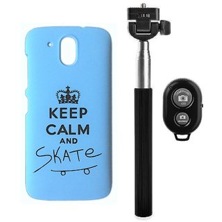 YGS Printed Matte Back Cover Case For HTC Desire 526 -Blue With Selfie Stick and  Bluetooth Remote